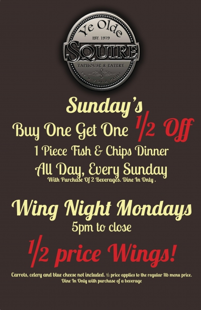 wing and fish specials
