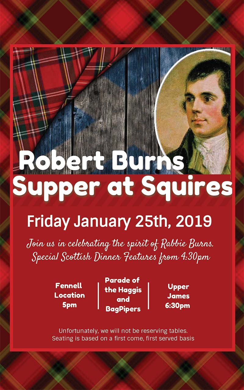 Robert Burns Supper at Squires