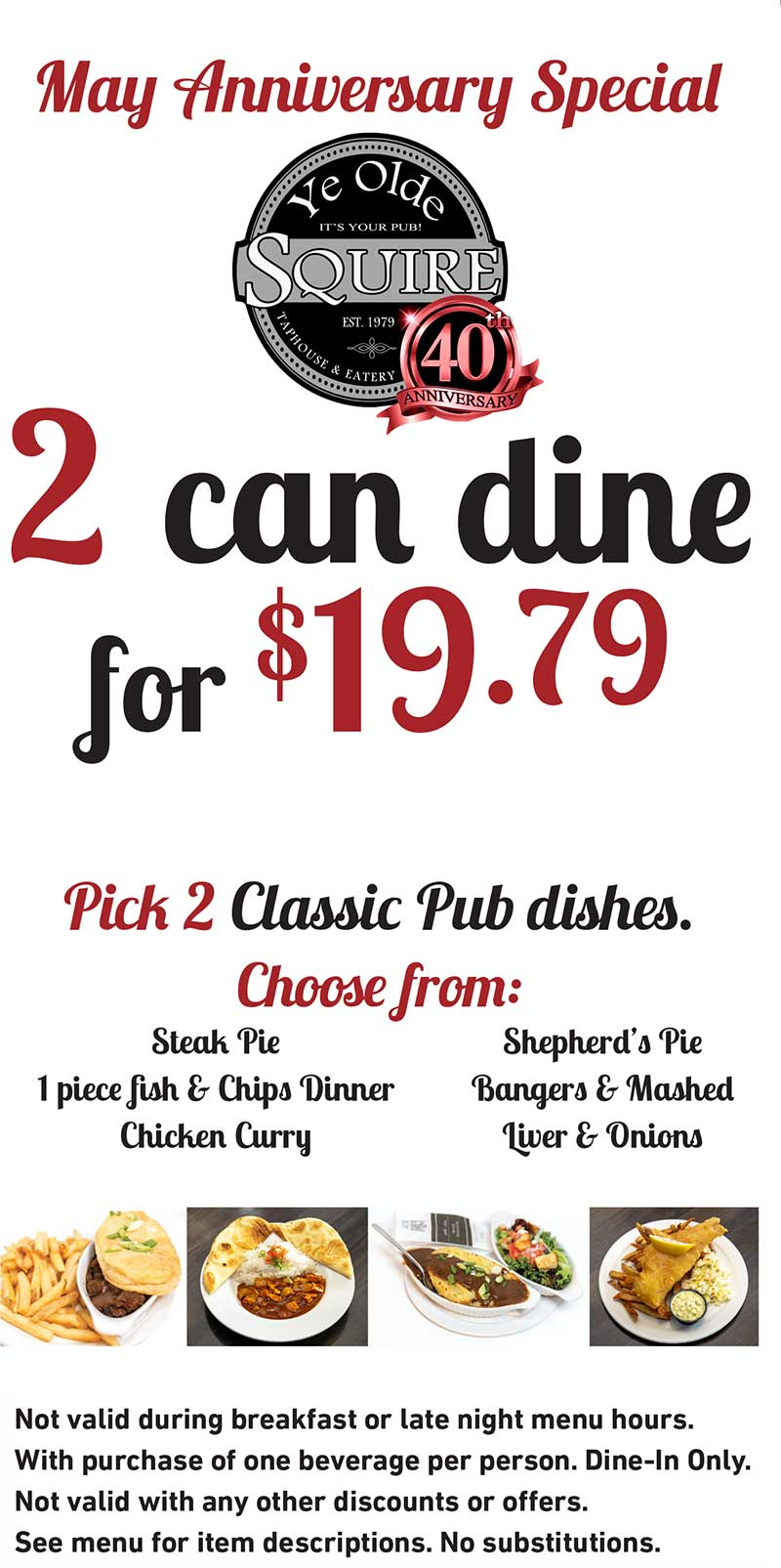 2 Can Dine May Anniversary Special